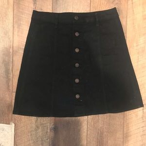 Black button down front skirt